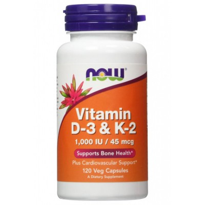 Now Foods Vitamin D-3 & K-2 120 veg caps