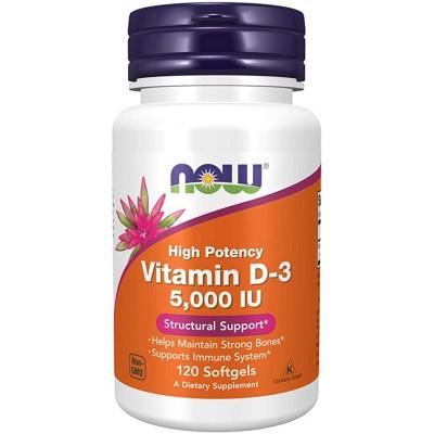 NOW Vitamin D-3 5000 IU 120 soft