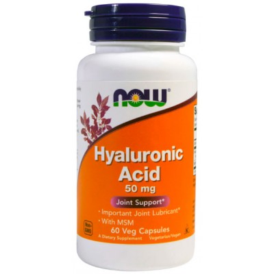 Now Foods Hyaluronic Acid 50 mg + MSM 60 caps