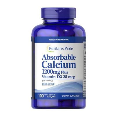 Puritans Pride Absorbable Calcium Plus Vitamin D3 100 caps