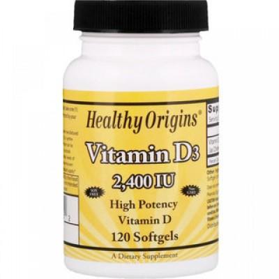 Healthy Origins Vitamin D3 2400 IU 120 soft