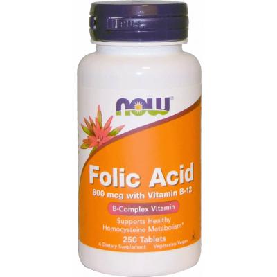 NOW Folic Acid with Vit. B12 250 tabs